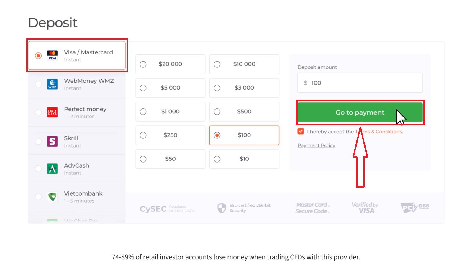 كيفية السحب وإيداع الأموال في IQ Option